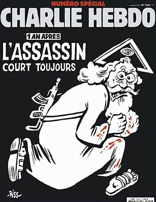 "Defiant: The cover of the latest edition of Charlie Hebdo, captioned: ""The killer is still on the run"""