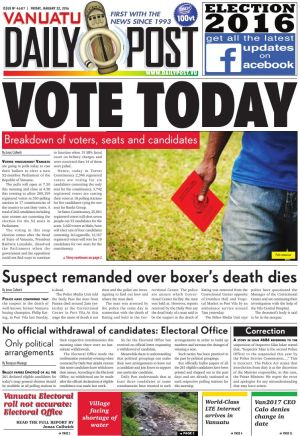 Today's Vanuatu Daily Post election edition front page.