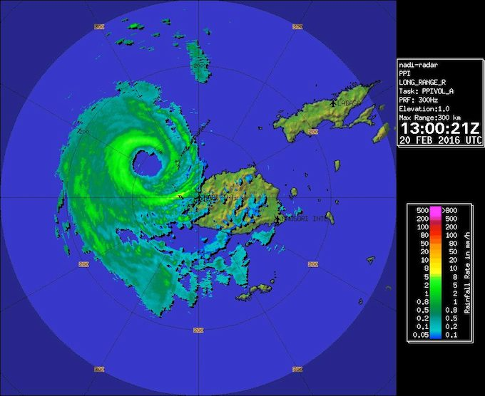 Hurricane Winston at 1am this morning after peaking and moving westwards from the main island of Viti Levu. Image: NaDraki Weather