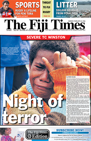Today's front page of the TC Winston edition of The Fiji Times. Image: Fred Wesley
