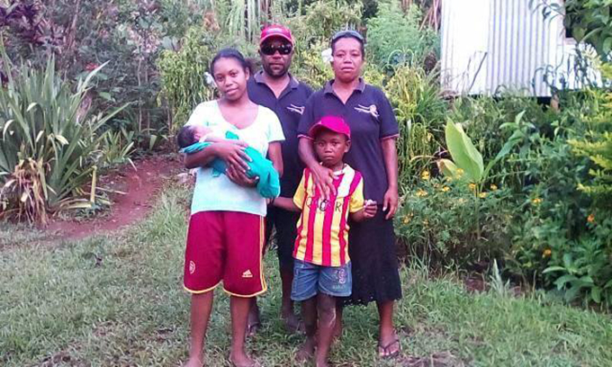 June Warigini (Keitani) with her husband Ruyben and family on Aneityum Island, Vanuatu.