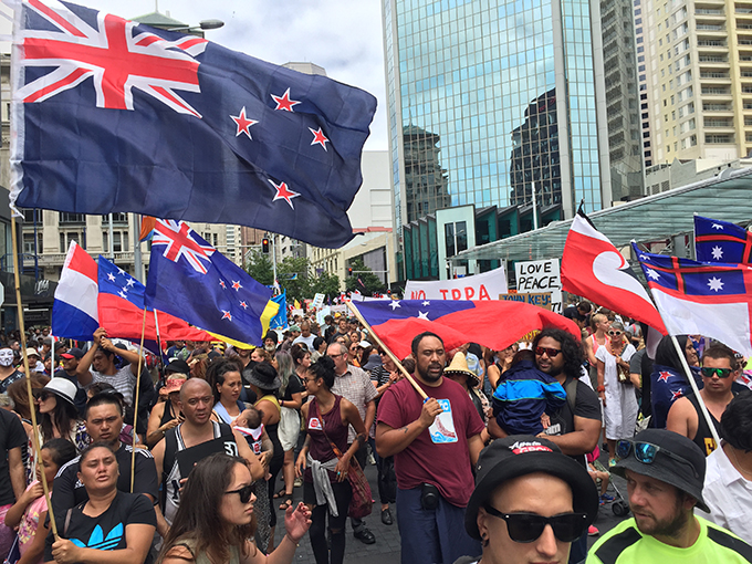 The anti-TPPA people's protest in Auckland today. Image: Scott Creighton/AUT