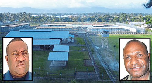 """Buimo Jail near Lae ... Insets: Lae Metropolitan Superintendent Anthony Wagambie Junior (left) and Acting Correctional Service Commissioner Bernard Nepo. Image"""" The National"""