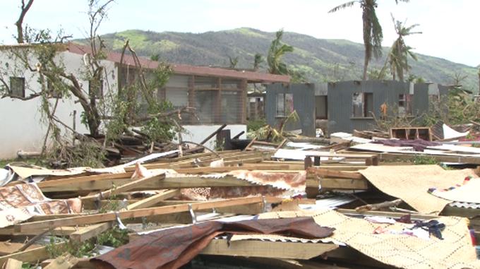 Flattened homes in Rakiraki, Viti Levu. Image: Fiji One News