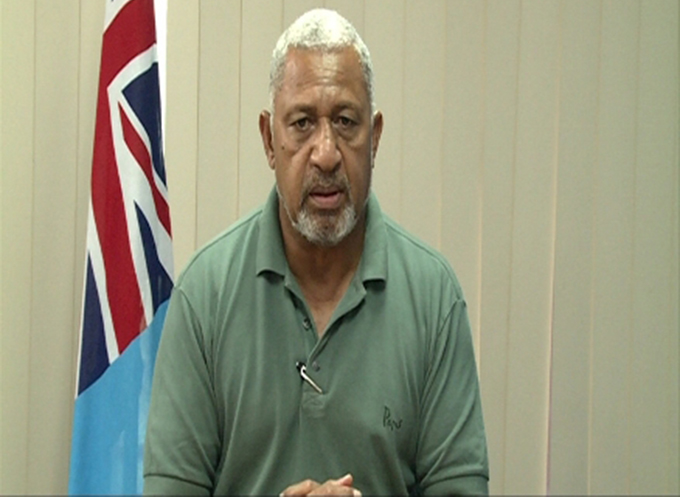 Prime Minister Voreqe Bainimarama today ... an appeal to respect the curfew. Image: FBC News
