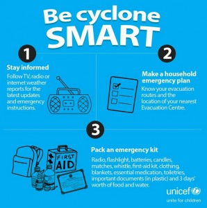 Tips on how to be cyclone smart. Follow @UNICEFPacific