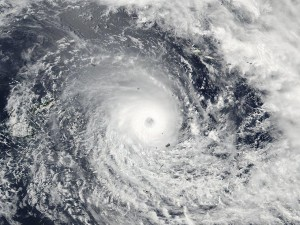 A satellite photo showing the furious TC Winston released by the NASA Goddard Rapid Response centre at the weekend.