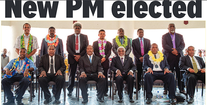 Charlot Salwai Tabimasmas (seated 3rd from left) is the new Prime Minister of Vanuatu. Image: Jonas Cullwick/Vanuatu Daily Post