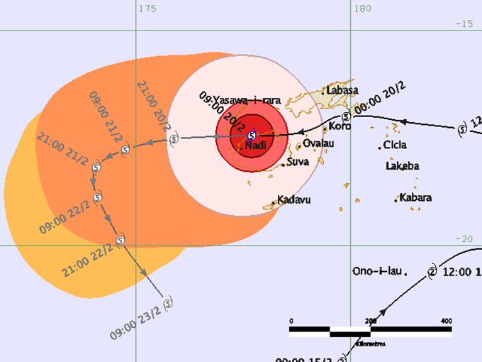 Tropical Cyclone Winston's path of devastation across Fiji. Image: Newswire Fiji