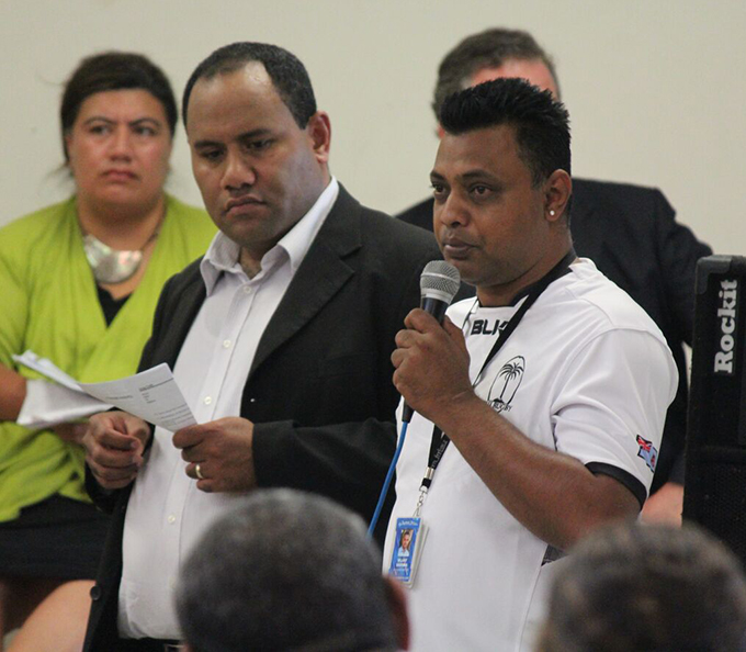 Fiji community members in a Q and A session about the Winston disaster at a public meeting in Mangere last night. Image: TJ Aumua