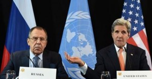 Russian Foreign Minister Sergei Lavrov and US Secretary of State John Kerry speak at a news conference in Munich, Germany.