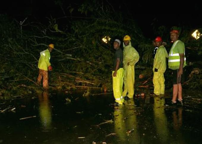 Fiji workers clear a tree blocking a Suva rod last night. Image: Fiji Times
