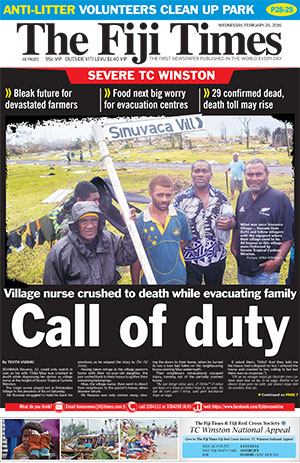 Today's front page of The Fiji Times ... the agony of Koro. Image: PMC