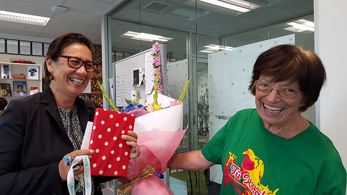 Outgoing chair Isabella Rasch with her flowers from Tui O'Sullivan and the PMC board. Image: Del Abcede/PMC