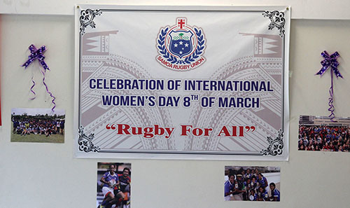 "The ""Rugby for all"" conference celebrating International Women's Day in Samoa. Image: Samoa Observer"