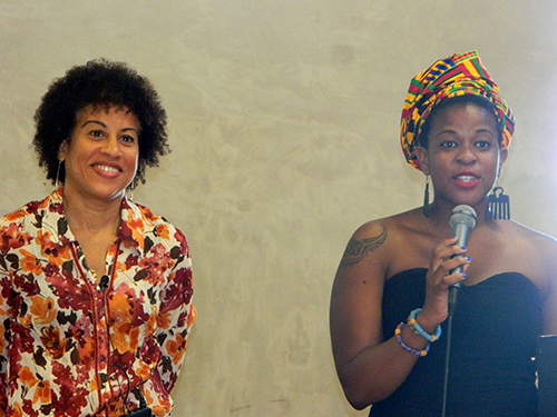 Researcher Dr Camille Nakhid with one of the organisers, Makanaka Tuwe, founder of Africa on My Sleeve. Image: Del Abcede/PMC