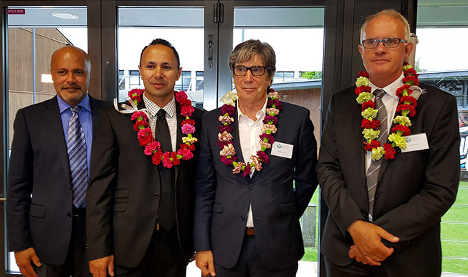 AUT's head of Pacific advancement Walter Fraser (from left), NZIPR founding director Associate Professor Damon Salesa, AUT University vice-chancellor Derek McCormack, and Auckland University vice-chancellor Professor Stuart McCutcheon at the launch tonight. Image: Del Abcede/PMC