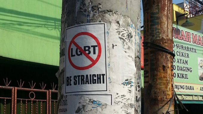 An anti-LGBT pamphlet posted on a street in West Java. Image: Michael Neilson