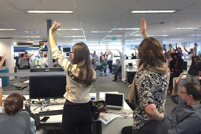 Journalists in the Sydney Fairfax office vote to strike. Image: Nick Ryan