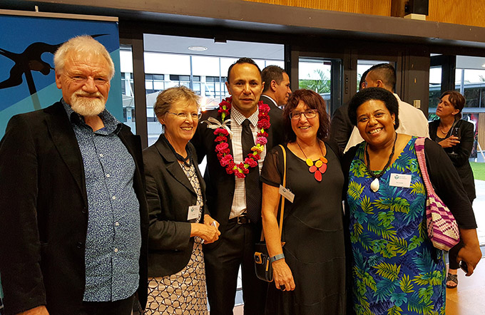 NZ Institute of Pacific Research's foundation director, Associate Professor Damon Salesa of Auckland University (centre), with some of the people involved, including Pacific Media Centre director Professor David Robie of AUT (left) and Associate Professor Jenny Bryant-Tokalau of Otago University. Image: Del Abcede/PMC
