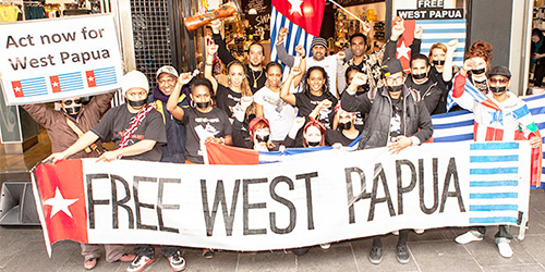 Troubling times ... a group supporting self-determination holds a Free West Papua protest in Melbourne.