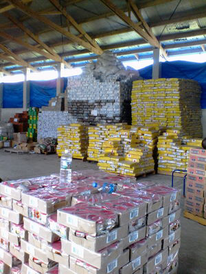 Cyclone Pam relief supplies stored in the Vanuatu Mobile Force camp. Image: Vanuatu Daily Post