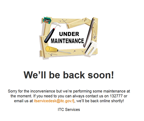 The maintenance message on the Fiji police website 6 hours after Newswire Fiji reported the hack. Image: Cafe Pacific
