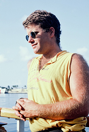Peter Willcox on board the first Rainbow Warrior in the Marshall Islands in 1985. Image: David Robie