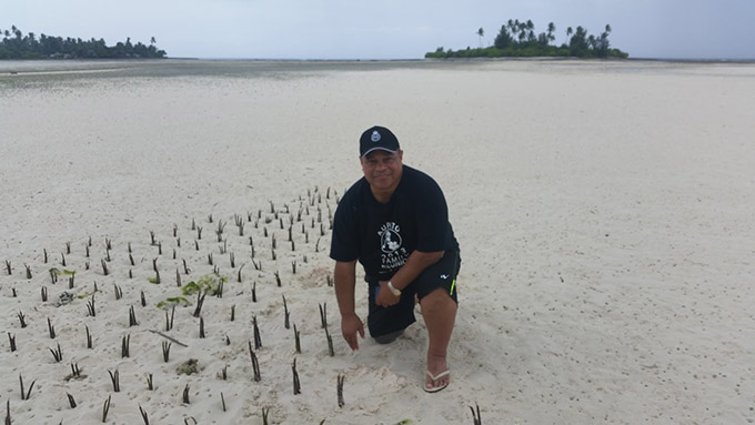 Mangroves are actively replanted on Kiribati to slow erosion, one of many climate change adaptation measures witnessed by Su'a William Sio on a fact-finding mission to the region. Image: Supplied