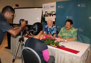 AUT's Pacific Media Centre director Professor David Robie and Tongan publisher, broadcaster and communications adviser Kalafi Moala at the Nadi human rights forum. Image: Jilda Shem/RRRT