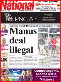 The front page of PNG's The National newspaper today.