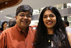Anuja Nadkarni with her father Dev at the awards night. Image: Del Abcede/PMC