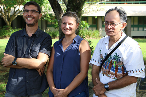 Research Institute of Development researcher Dr Pascal Dumas (left), IT engineer and OREANET creator Sylvie Fiat and USP marine biologist Dr Antoine de Ramon N'Yeurt at the USP Institute of Marine Resources in Suva. Image: TJ Aumua/PMC