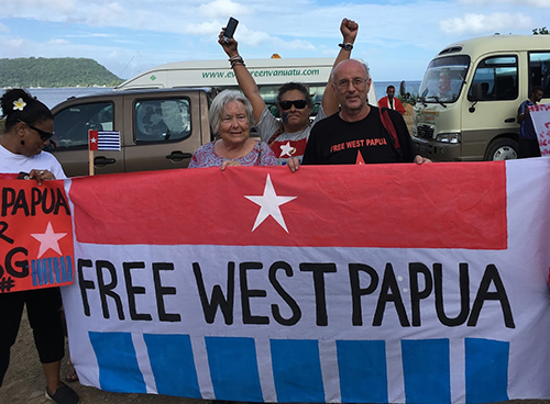 "The ""Free West Papua"" rally in Port Vila, Vanuatu, today. Image: AWPA Sydney"