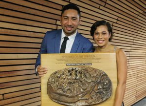 Joshua Iosefo and TJ Aumua with the Storyboard. Image: Del Abcede/PMC