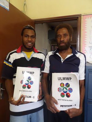 West Papuan supporters show off the petition in their support. Image: Len Garae/VDP
