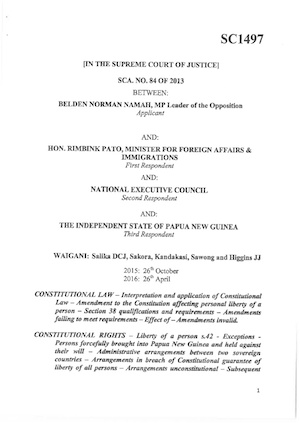 The PNG Supreme Court judgment.
