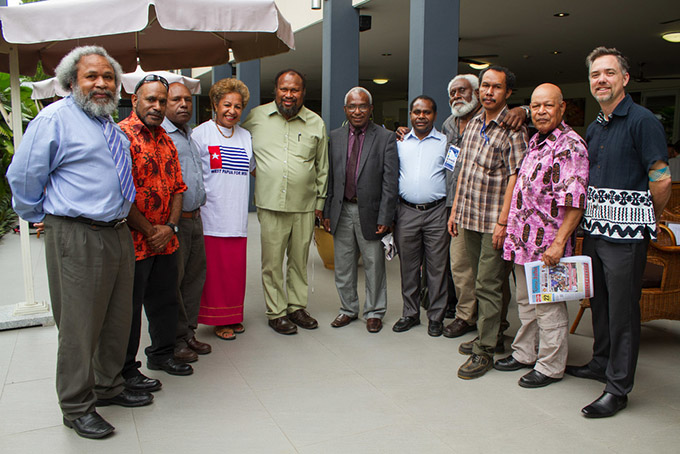 West Papuan activists and their supporters at the Melanesian Spearhead Group summit in Honiara last year. Image: