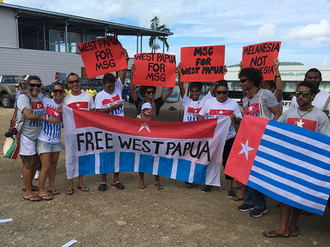 The rally for West Papua in the Vanuatu capital of Port Vila yesterday. Image: AWPA