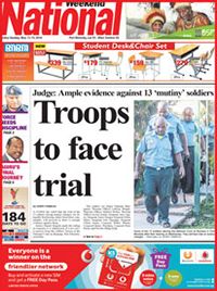 Front page of the The National coverage of the start of the court martial. Image: The National