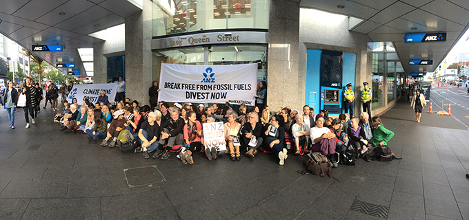 The blockaded ANZ branch in Queen St today. Image Ami Dhabuwala/APJS