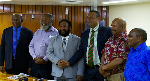 Opposition Leader Don Poyle with other opposition MPs yesterday. Image: EMTV News