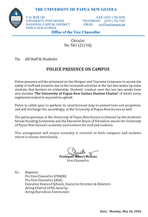The UPNG circular about a police presence on campus. Image: UPNG