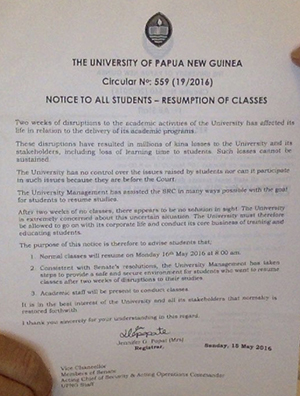 The back-to-class order from the UPNG administration yesterday. Image: Citizen Journalist