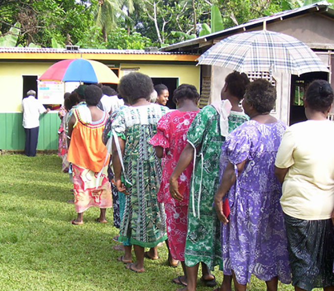Vanuatu women voting
