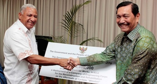 "Fiji's Voreqe Bainimarama shakes hands with General Pandiaitan. ""General Pandjaitan has repeatedly claimed that he has secured Fiji and Papua New Guinea's support for Indonesia."" Image: Fiji Sun"