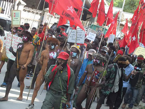 Papuan self-determination protesters march towards Cenderawasih university. Image: West Papua Media