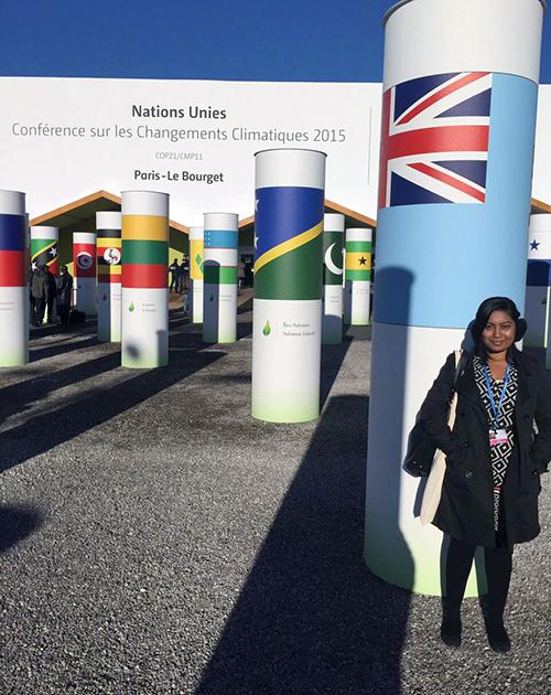 Fiji's Jenny Jiva in Paris for COP21. Image: USP