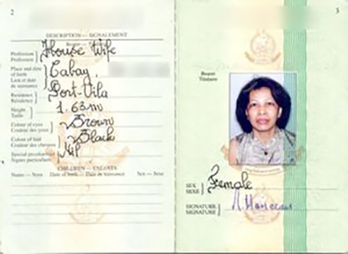 "Nesita Manceau, a Filipina, shown in this passport photo is listed here as a ""housewife"" but also in registries as a corporate director for scores of tax haven companies around the world. Image: Vanuatu Daily Post/ICIJ"