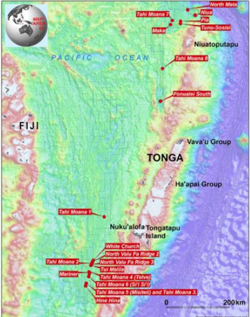 Nautilus's prospective DSM sites in Tonga's EEZ